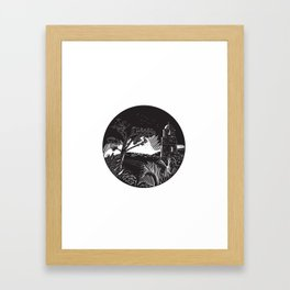 Belfry Tower On Hill Trees Circle Woodcut Framed Art Print