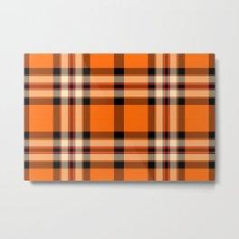 Argyle Fabric Plaid Pattern Autumn Orange & Black Colors Metal Print