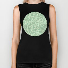 Japanese Scroll Pattern in Green & Yellow Biker Tank