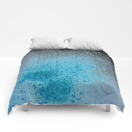 Blue and Black Spray Paint Splatter Comforters