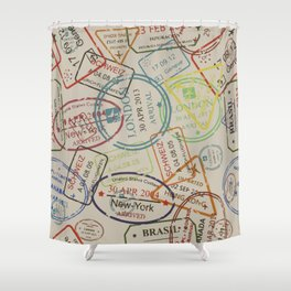World Traveler Passport Stamp Vintage Design Shower Curtain