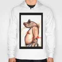pig Hoodies featuring pig by Andrei Moldovan