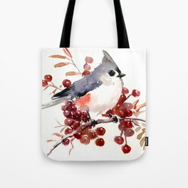 Titmouse and Berries, red fall colors, birds and flowers vintage style east coast Tote Bag