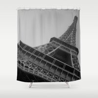 eiffel tower Shower Curtains featuring Eiffel Tower by Riaora Creations