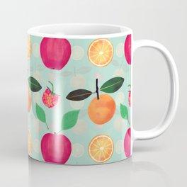 Cute Vintage Oranges & Apples fruits Mint Pattern Coffee Mug