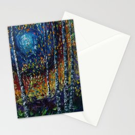 Moonlight Sonata With Aspen Trees Palette Knife Painting Stationery Cards