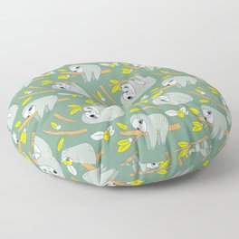 Sloth pattern in green Floor Pillow