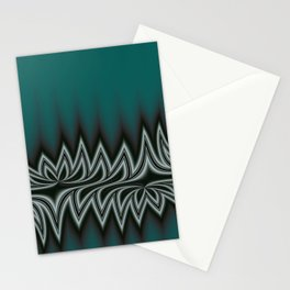 Fractal Tribal Art in Pacific Teal Stationery Cards