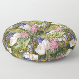 Tulips and primroses Floor Pillow
