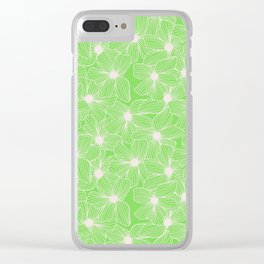 02 White Flowers on Green Clear iPhone Case