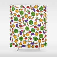 vegetables Shower Curtains featuring Vegetables by Alisa Galitsyna