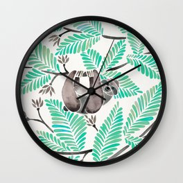 Happy Sloth – Tropical Mint Rainforest Wall Clock