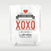 valentines Shower Curtains featuring Valentines Day by cat&wolf