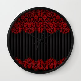 Beautiful Red Damask Lace and Black Stripes Wall Clock