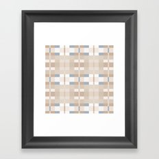 Beige and Blue Color Blocks Geometric Pattern Framed Art Print