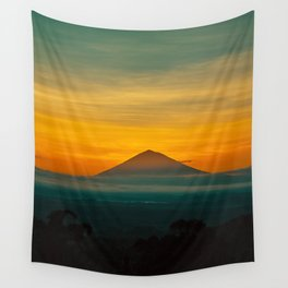 Mountain Volcano In The Distant Green Yellow Orange Sunset Hues Landscape Photography Wall Tapestry