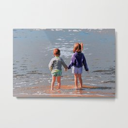 Getting Our Feet Wet on the Beach Metal Print