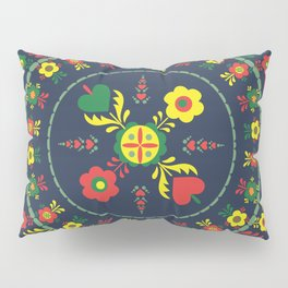 Folk Flowers with Green  Border Pillow Sham