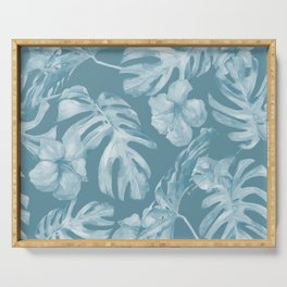 Tropical Escape Teal Blue Leaves + Hibiscus Serving Tray