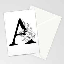 A botanical monogram. Letter initial with peonies Stationery Cards