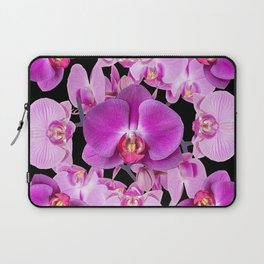 Modern  Ornate Pink & Purple  Moth Orchids Black Colored Art Laptop Sleeve
