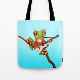 Tree Frog Playing Acoustic Guitar with Flag of Indonesia Tote Bag