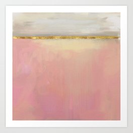 Serenity: Pink, Gold And Grey Abstract Art Painting Art Print