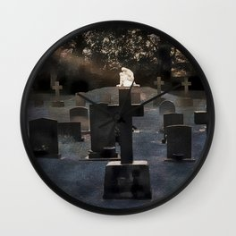 Gravestones and statue Wall Clock
