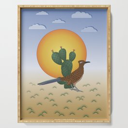 Soul of the Southwest - Roadrunner in the Desert Serving Tray