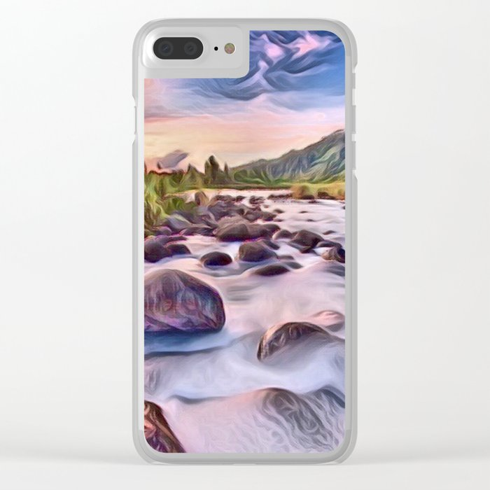 Gorgeous Epic River in Landscape with Rocks Clear iPhone Case