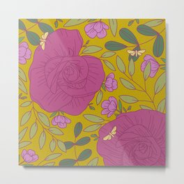 Pink Meadow Roses and Yellow Buttercup Butterflies Metal Print