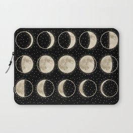 shiny moon phases on black / with stars Laptop Sleeve