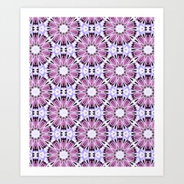 Rose Pink Light Blue Flower Background Pattern Art Print