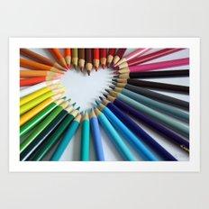 A Heartful of Pencils Art Print