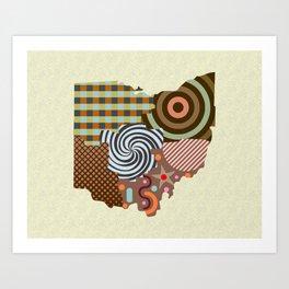 Ohio State Map Art Print