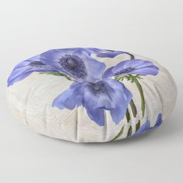 Pretty Periwinkle Poppies Floor Pillow