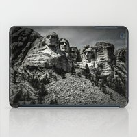rushmore iPad Cases featuring Mount Rushmore in Black and White by Larry J