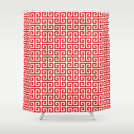 Red and White Greek Key Pattern Shower Curtain