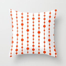 Orange vertical lines and dots Throw Pillow