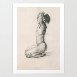 Male Nude Charcoal Drawing Man Meditating Sitting Zen Peace Black and White Art Print