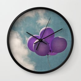 Vintage Inspired Purple Balloons In Blue Sky Wall Clock