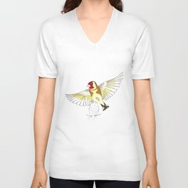Goldfinch in flight Unisex V-Neck
