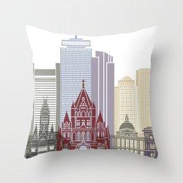 Boston skyline poster Throw Pillow