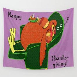 Sleeping Turkey with Pumpkin Pie Wall Tapestry