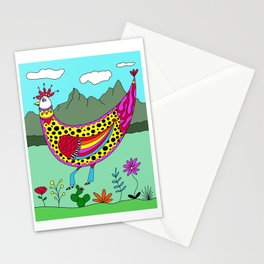 Funny Western Rooster Chicken Stationery Cards