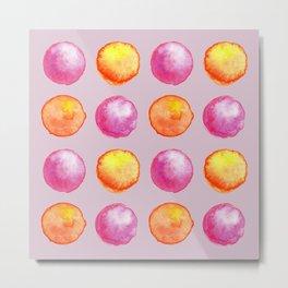 Juicy Watercolor Pink Pearls And Orange Fireballs Pattern Metal Print