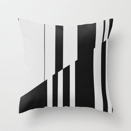 Geometric Abstract #10 Black and White Stripes Throw Pillow
