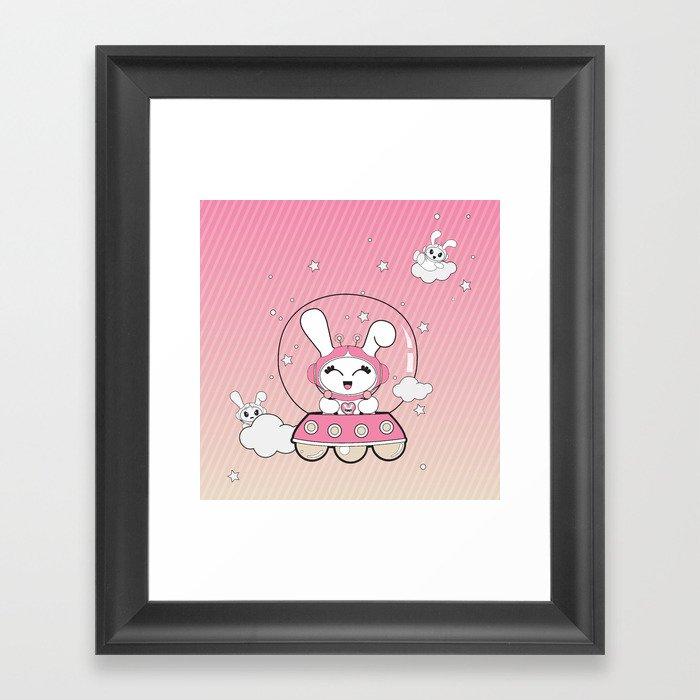 Space Bunny Flying Framed Art Print