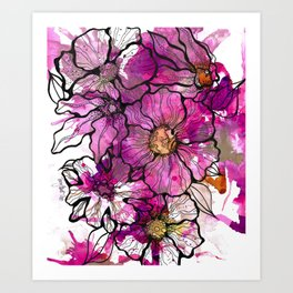 Magenta Flowers Art Print