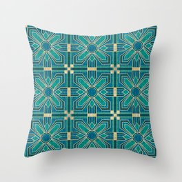 Art Deco Flowers in Teal and Faux Gold Throw Pillow